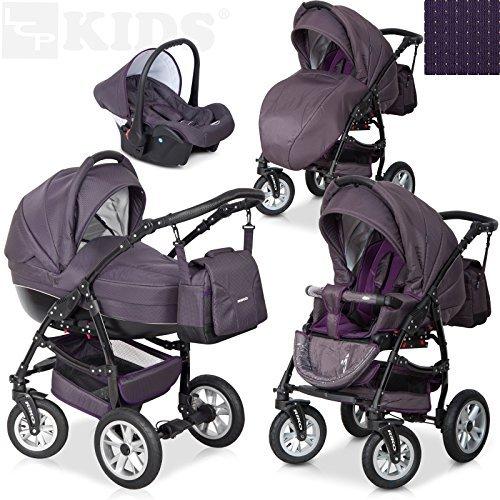 Exklusiver 3 in 1 Kombikinderwagen + Spazierwagen Buggy + Babyschale / EU Markenprodukt / 8 Farbdesigns, Farbe: plum