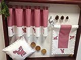 Scheibengardine Weihnachten Vichy Karo rot weiß mit süßer Elch Applikation bestickt HxB 45x145 cm Bistro mit Schlaufen Kurzgardine Vorhang Typ292