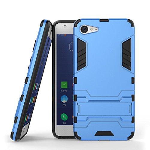 Ougger Handyhülle für Lenovo ZUK Z2 Hülle Schale Tasche, Extreme Schutz [Kickstand] Leicht Armor Schutz SchutzHülle Hart PC + Soft TPU Gummi 2in1 Rear für Lenovo ZUK Z2 Blau