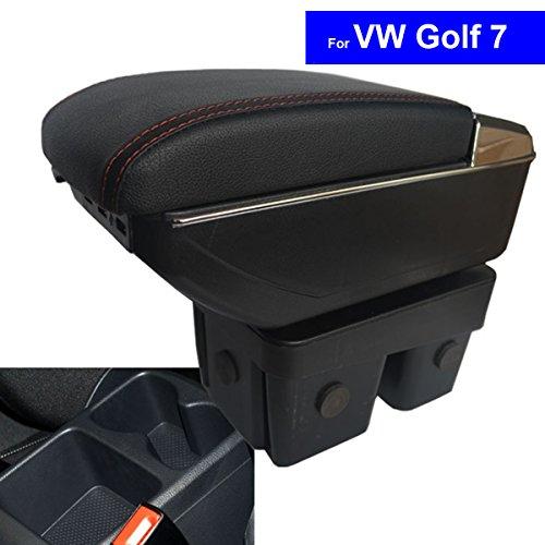 Preisvergleich Produktbild szss-car Leder Auto Mittelkonsole Armlehne Box Auto Innenteile Armlehnen Aufbewahrungsbox (Schwarz)