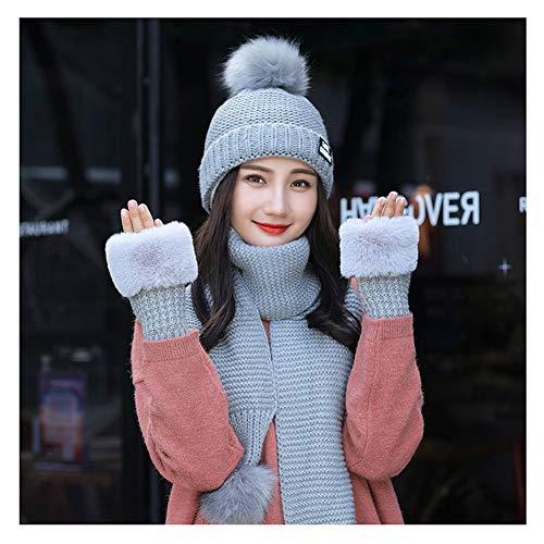 Blau Stricken Hut-set (CHAXIA Mütze Schal Handschuh Sets Hut Winter Weiblich Stricken Einfach Mode Verdicken Warm Halten 3-teiliges Set, 5 Farben (Farbe : Blau))