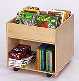 Flexeo Buchmobil auf Rollen, mobiles Bücherregal aus Holz, Kinder-Buchbox zur Bücheraufbewahrung Kindergarten, Krippe Bücher-Kiste, lesen, Leseecke, mit extra viel Stauraum, 58,5 cm x 60 cm x 60 cm -
