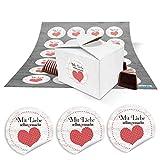 24 kleine weiße Geschenkschachteln Geschenkboxen Verpackung für Geschenke (8 x 6,5 x 5,5) + Aufkleber Text MIT LIEBE SELBSTGEMACHT rot-weißes Herz gepunktet als Gastgeschenke, Mitgebsel, give-aways