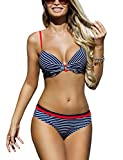 Ewlon Adel Maillot De Bain Deux Pieces Bikini A Rayures Tissu Élastique Top Qualité Élégant- Fabriqué En UE