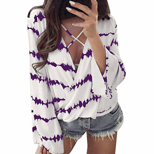 Damen Blusen Ronamick Frauen Lose Lange Ärmel Shirt Stripe Tops Überlappende Chiffon Casual Bluse Streifen Sexy (Lila, XXXL) (Shirt Casual Stripe)