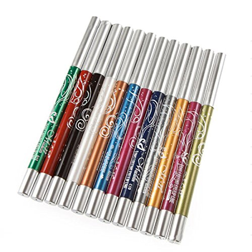 Ming 12Pcs Set de Crayon yeux Khôl waterproof Tient Multicolore Professionnel Make-up