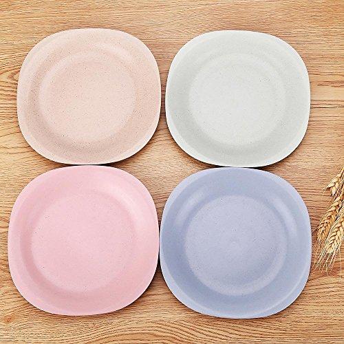 Upstyle Paille de blé Sain enfant Assiettes et incassable Assiette Plat à vaisselle pour enfants, square, WS0546, 4colors