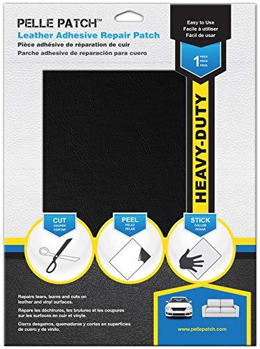 Pelle Patch - Pièce adhésive de réparation de Cuir et Vinyle - 25 Couleurs Disponibles - Heavy-Duty 20cm x 28cm - Noir