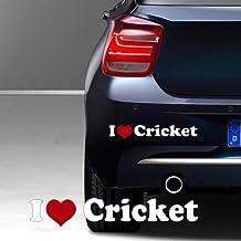 """""""I love Criket Aufkleber"""" ca. 20 x 5 cm hochwertiger Autoaufkleber Aufkleber 2 farbig freigestellt ohne Hintergrund Sport Hobby Sticker"""