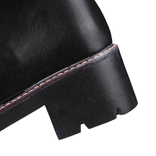 AgooLar Damen Schnüren Rund Zehe Mittler Absatz Gemischte Farbe Stiefel Schwarz
