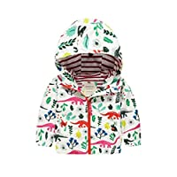 Girls Hooded Raincoat Rain Jacket Shower Proof Jersey Lined Showerproof - Dinosaurs