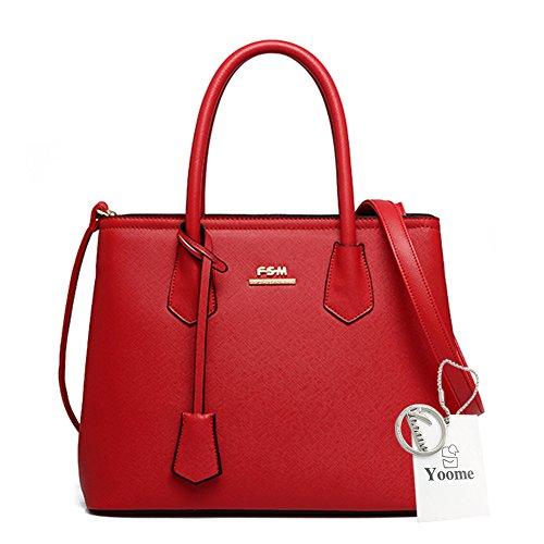 Yoome große Kapazitäts-Kreuz-Muster-Einkaufstaschen Elegante Taschen für Mädchen-Kupplungs-Geldbeutel für Frauen - Rose Rot