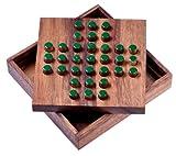 Solitär Gr. L - Solitaire - Steckspiel - Denkspiel - Knobelspiel - Geduldspiel aus Holz - grüne Stecker