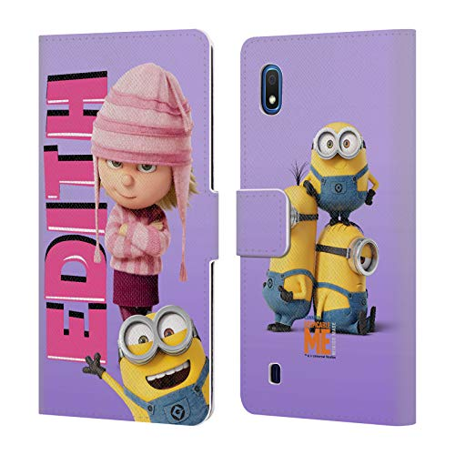 Head Case Designs Offizielle Despicable Me Edith Gru's Familie Leder Brieftaschen Huelle kompatibel mit Samsung Galaxy A10 (2019) (Edith Me Despicable)
