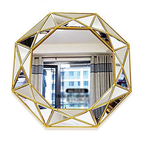 Solidee 3D-Geometrie, Wandspiegel, PU Polyurethan-Rahmen Dekorative Wand Spiegel, an der Wand befestigten Hang Spiegel für Wohnzimmer, Flur, Schlafzimmer, Eingang Wandspiegel,Antiquegold,80CM