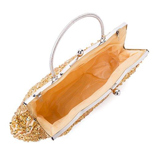 Kisschic Damen Handtaschen Weinlese Taschen Wulst Paillette Abendtasche Clutches Gold