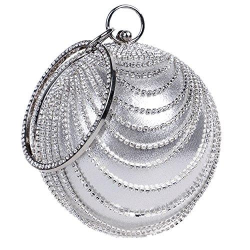 Santimon Pochettes Per Le Donna Strass Rotonda Sfera Del Partito promenade Di Sera Handle Bag argento