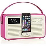 VQ Retro Mk II DAB/DAB+ Digital- und FM-Radio mit Bluetooth, Apple Lightning Dock und 'Retro Mini Hepburn Mk - Rosa