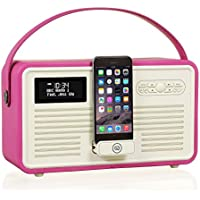 VQ Retro Mk II DAB/DAB+ Digital- und FM-Radio mit Bluetooth, Apple Lightning Dock und Weckfunktion - Rosa