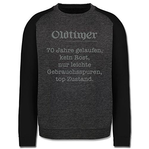 Geburtstag - 70 Jahre Oldtimer Fun Geschenk - Herren Baseball Pullover Dunkelgrau Meliert/Schwarz