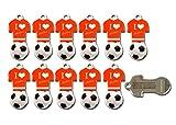 Fußball Schlüsselanhänger at mit Einkaufswagen-Chip,11 Stück aus Edelstahl mit Schlüsselschutz