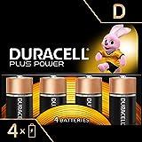 Duracell Plus Power Piles Alcalines type D, Lot de 4 piles