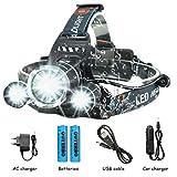OUTERDO 8000Lumen LED Stirnlampe 4 Mode LED Kopflampe Head Lamp+ 2 x 18650 Akku + AC Ladegerät Für Outdoor/Sports/Camping/Biking/Jagd/Fischerei