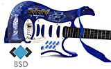 Rock-Gitarre mit Stahlsaiten, verstellbare Stativ und Mikrofon - Rockgitarre für Kinder - Kinder-Gitarre - Rock Guitar - Spielzeug-Gitarre - Gitarre mit Spielfunktionen - Kleinkind Musikinstrument - erste Gitarre für Kleinkind - BLAU