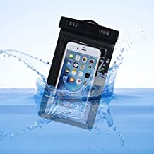 Bolsa Impermeable,Asnlove Carcasa Transparente con Tapa y Sistema de Sellado Hermético,Universal Funda Bolsa Impermeable para Telefonos Moviles,Waterproof Case Funda Brazalete Impermeable de Cinturón Base de Sport,Resistente al Agua para Nadar,Pescar,Esquia para iPhone 5, iPhone 5C, iPhone 5S, iPhone SE, Asus Zenfone 4, BlackBerry Q10, Q5,Samsung galaxy s3 s4 s5,Nexus 6, Sony Z3 etc(Negro)