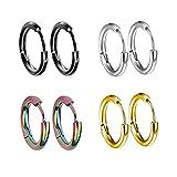 4 pares de pendientes de aro, pendientes de acero inoxidable 4 colores diferentes para mujeres y hombres clips de oreja Stud pendientes túnel Huggie Piercing pendientes de botón 14MM