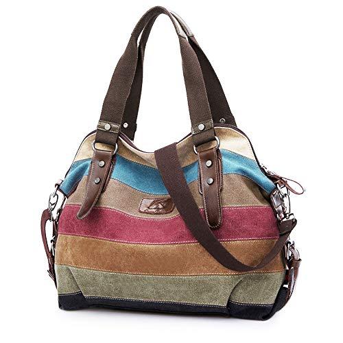 SNUG STAR Handtasche Damen,Canvas Tasche Damentasche Multi-Color-Striped Umhängetasche Damen Groß Schultasche Canvas Shopper Tasch Muttertag Geschenk Hobo Bag (C stylen) - Star Canvas-tasche