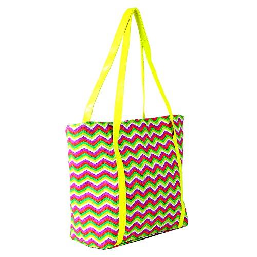 DonDon Damen Strandtasche Shopper mit Reissverschluss 46 cm 32 cm 16 cm in trendigen Farben Zick Zack gelb pink
