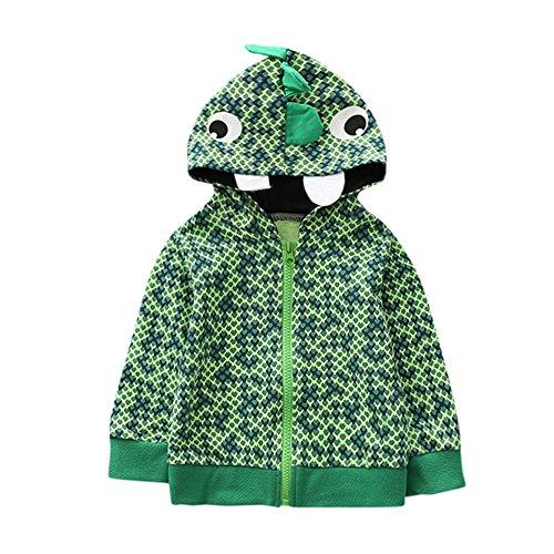 Kleider Kinderbekleidung Honestyi Baby Kind scherzt Jungen Mädchen Karikatur Tier mit Kapuze Mantel Mantel Oberseiten warme Kleidung (Hegrün,110)