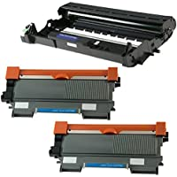 Printing Pleasure DR2200 Drum Unit & 2x TN2220 Toner Cartridges compatible with Brother DCP-7055 DCP-7060D DCP-7065DN HL-2130 HL-2132 HL-2240 2240D 2250DN 2270DW MFC-7360N FAX-2840 - Black, High Yield