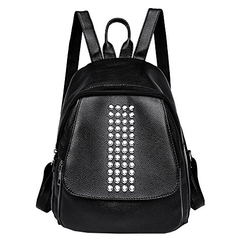 Damen-nieten-satchel (Mypace Groß Klein Umhängetasche Leder Tasche Für Damen Damen Nieten Leder Rucksack Laptop Satchel Travel School Rucksack Tasche)