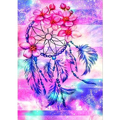 MXJSUA 5D Diamant Gemälde Full Bohrer Kits für Erwachsene Strass eingefügt Stickerei Kreuzstich Arts Craft für Home Wand-Decor 30,5x 40,6cm Pink Dream Catcher (Catcher Kit Für Erwachsene)