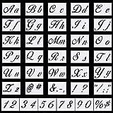 Meetory Lot de 36 pochoirs de lettres de l'alphabet réutilisables en plastique pour peinture sur bois