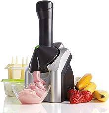 Drake Frozen Healthy Dessert Maker – 100% Fruit Soft-Serve Maker Yogurt ice Cream Fruit Smoothie Dessert Maker (Black and Silver)