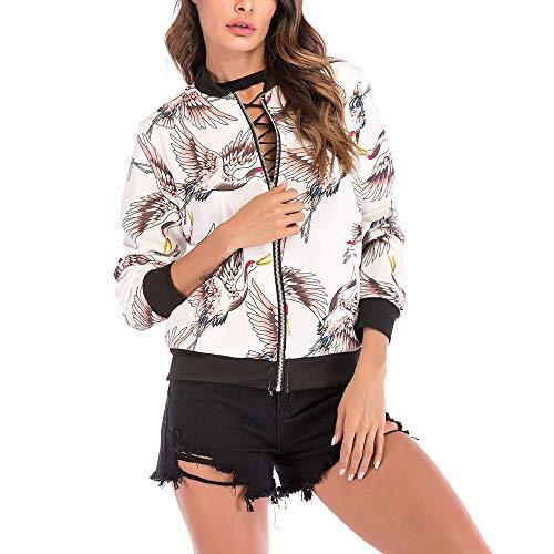 (Briskorry Herbst Winter Frauen Damen Vogel Gedruckt Langarmshirts Reißverschluss Jacke Casual Täglich Outdoors Outwear Lose Tops)