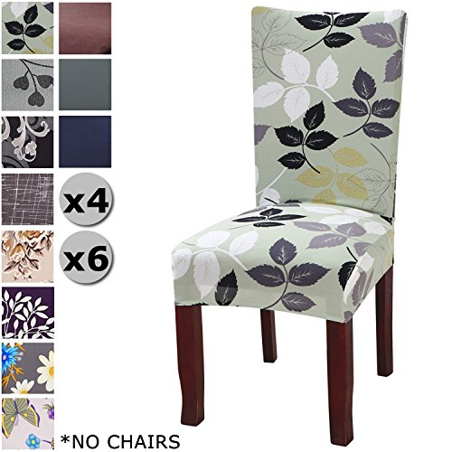YISUN Modern Stretch Dining Chair Covers Removable Washable Spandex Slipcovers for High Chairs 4/6 PCs Chair Protective Covers (Green + Leaf Pattern, 6 PCS)