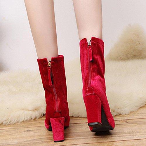 Femmes Boucle De Mode Bottes, Tefamore Dames Chaud Talons Hauts Chaussures Rouges