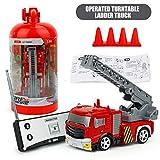 Lorenlli 27 MHz 40 MHz RC Drehteller Ladder Truck 4CH Wiederaufladbare Tragbare Mini Fernbedienung Feuer LKW Kinder Spielzeug