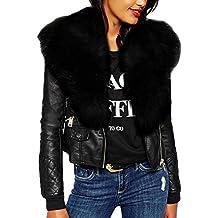 de84c88614 MEIbax Damen Winter Kunstleder Bikerjacke mit Pelz Hals Reißverschluss  Taschen Mantel Jacke,Übergröße Einfarbig Langarm