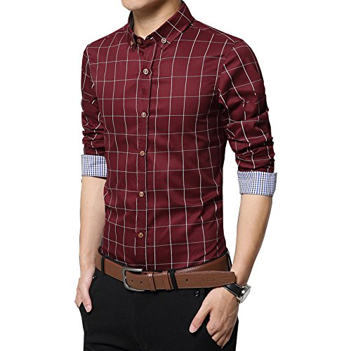 ... Gfirmament Herren Hemd Slim Kariert leicht Tailliert mehrere Farben  Bügelleicht Wine Red ...