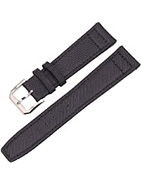 109e6f2c551d Correa 20mm 21mm 22mm Nylon Unisex Accesorios genuinos Bandas de Reloj de  Cuero Hombres Mujeres Verde Negro Correa de Reloj con…