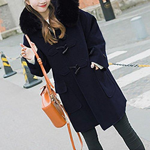 iBaste Winter Mantel Parka Jacke Dufflecoat Zipper mit Kapuze Große Größen Dunkelblau