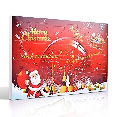 MJARTORIA Weihnachtskalender Schmuck Adventskalender für Damen Mädchen mit 24 Überraschungen Xmas Choker Kette Weinglas Marker Brosche Click Button Charms (Red-#1)