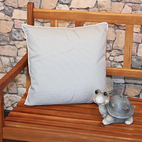 Kamaca u00ae XL Outdoor Kissen Sitzkissen Wasserabweisend Fleckabweisend Schmutzabweisend mit Lotus Effekt für Haus Camping Garten 45 x 45 cm maschinenwaschbar (HELLGRAU)
