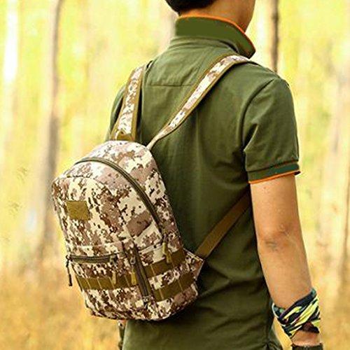 MagiDeal 10L Kleiner Outdoor Rucksack Fahrradrucksack Trinkrucksack Molle Reisetasche für Wandern, Klettern, Fahrradfahren Laufsport oder Camping Sportrucksack Desert Camo