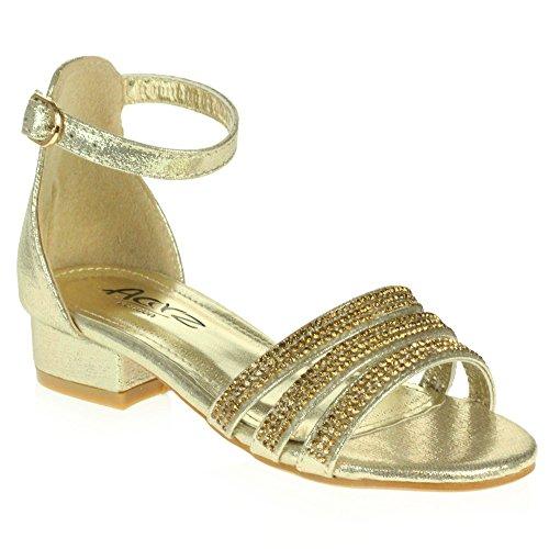 kly Diamant Abend Party Komfort Blockabsatz Gold Sandalen Schuhe Größe 34 (Sparkly Schuhe Für Kinder)